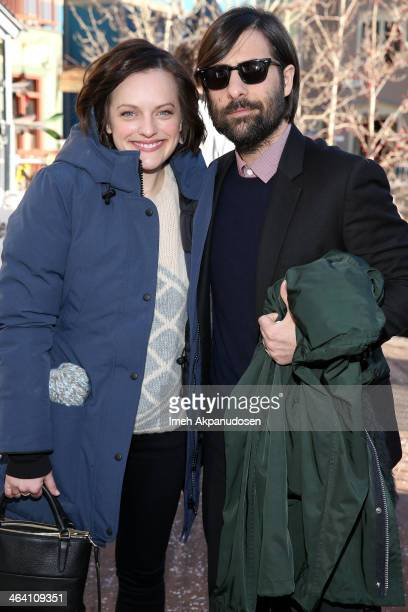 Actors Elisabeth Moss and Jason Schwartzman attend day 4 of The Village At The Lift on January 20 2014 in Park City Utah