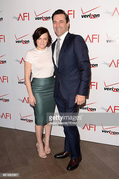 Actors Elisabeth Moss and Jon Hamm attend the 14th annual AFI Awards Luncheon at the Four Seasons Hotel Beverly Hills on January 10 2014 in Beverly...