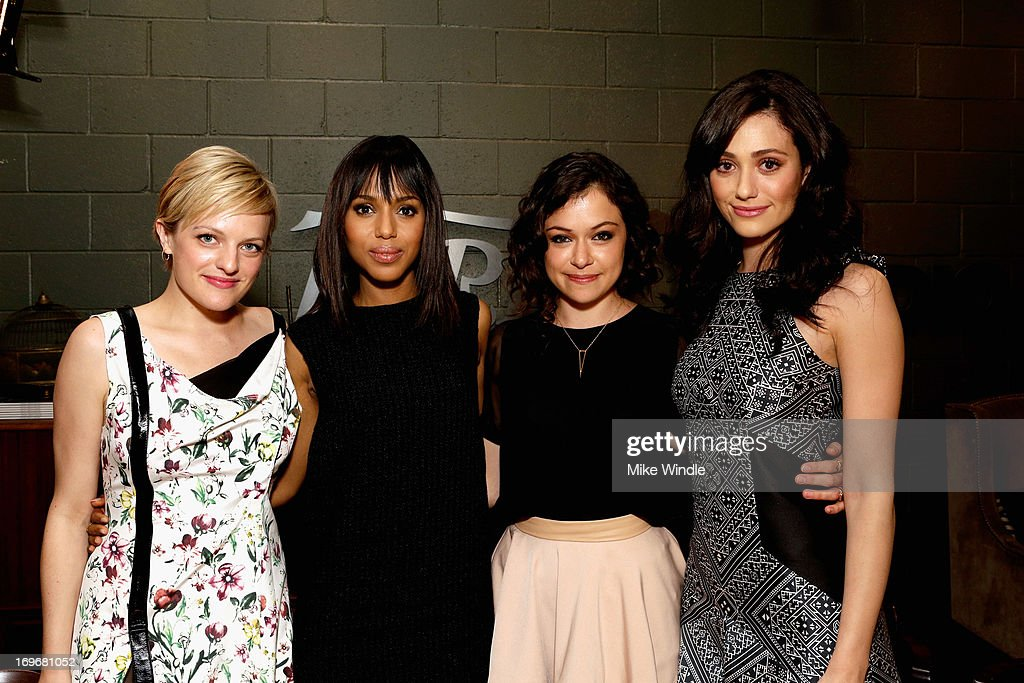 Actors Elisabeth Moss, Kerry Washington, Tatiana Maslany and Emmy Rossum attend the Variety Emmy Studio at Palihouse on May 30, 2013 in West Hollywood, California.