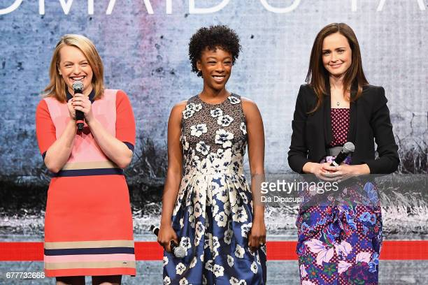Actors Elisabeth Moss Samira Wiley and Alexis Bledel of 'The Handmaid's Tale' speak onstage during the Hulu Upfront presentation at The Theater at...
