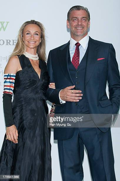 Actors Elisabetta Caraccia and Ray Stevenson arrive for wedding ceremony of Lee ByungHun and Rhee MinJung at the Hyatt Hotel on August 10 2013 in...
