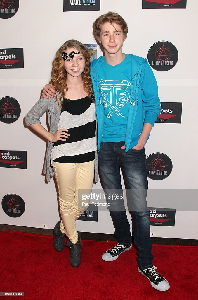 Actors Elise Luthman and <a gi-track='captionPersonalityLinkClicked' href=/galleries/search?phrase=Joey+Luthman&family=editorial&specificpeople=5526593 ng-click='$event.stopPropagation()'>Joey Luthman</a> arrives at Make A Film Foundation's 'Kidz 4 Kidz' Comedy 4 A Cau$e Benefit Show at Writers Guild Theater on March 7, 2013 in Beverly Hills, California.