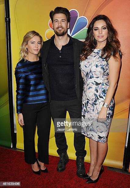 Actors Elisha Cuthbert Nick Zano and Kelly Brook attend the NBCUniversal 2015 press tour at The Langham Huntington Hotel and Spa on January 16 2015...