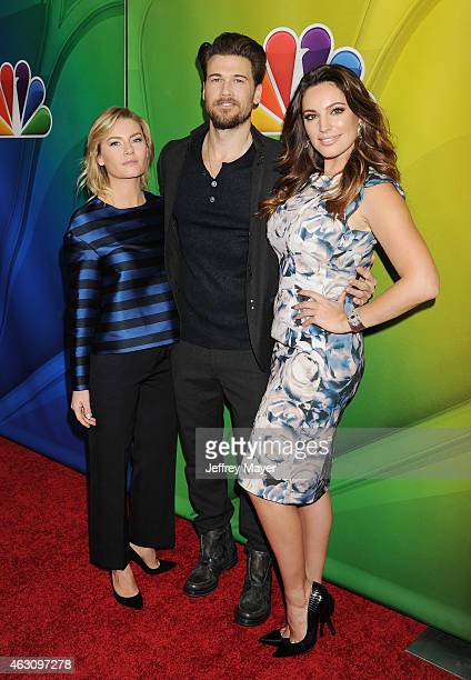 Actors Elisha Cuthbert Nick Zano and Kelly Brook attend the NBCUniversal 2015 Press Tour at the Langham Huntington Hotel on January 15 2015 in...