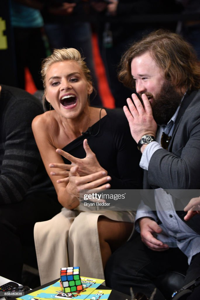 Actors Eliza Coupe and Haley Joel Osment speak the FANDOM Fest during New York Comic Con on October 6, 2017 in New York City.