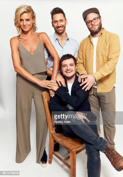 Actors Eliza Coupe Derek Wilson Josh Hutcherson and Seth Rogen from Hulu's 'Future Man' pose for a portrait during ComicCon 2017 at Hard Rock Hotel...