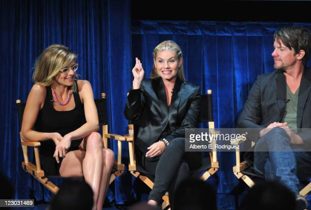 Actors Eliza Coupe Elisha Cuthbert and Zachary Knighton attend The Paley Center for Media's An Evening with 'Happy Endings' on August 29 2011 in...