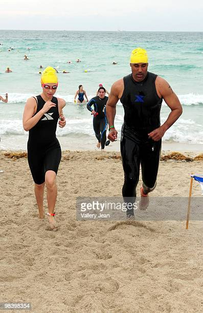 Actors Eliza Dushku and Rick Fox attend the Third Annual Nautica South Beach Triathlon on April 11 2010 in Miami Beach Florida