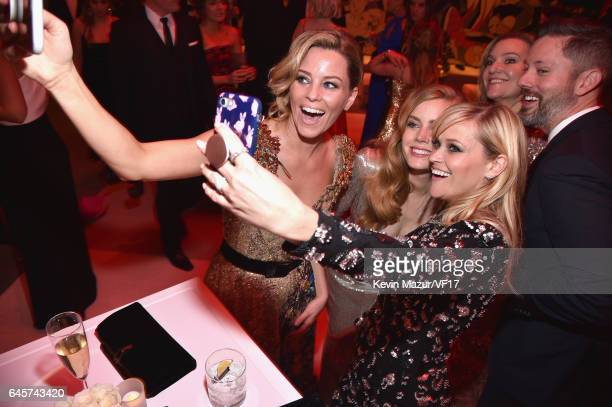 Actors Elizabeth Banks Amy Adams and Reese Witherspoon attend the 2017 Vanity Fair Oscar Party hosted by Graydon Carter at Wallis Annenberg Center...