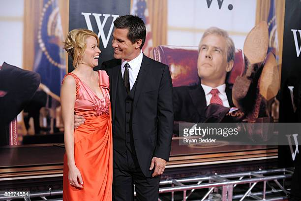 Actors Elizabeth Banks and Josh Brolin arrives at the New York premiere of 'W' at Ziegfeld Clearview Cinemas on October 14 2008 in New York City