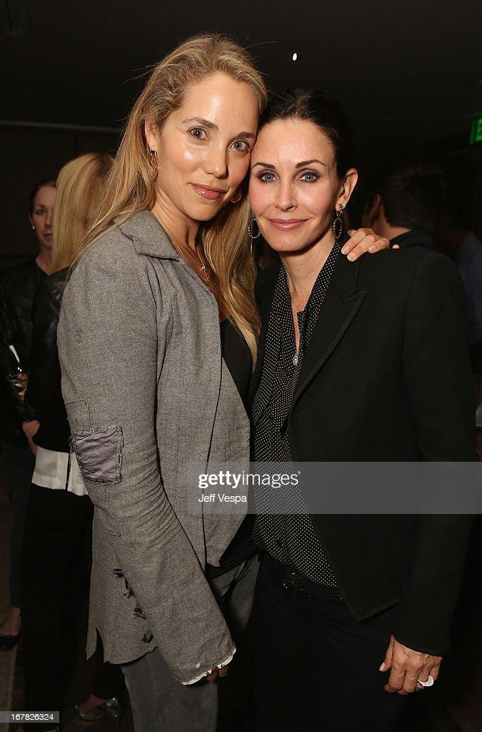 Actors Elizabeth Berkley and Courteney Cox attend SELF Magazine and Jennifer Aniston's celebration of Mandy Ingber's new book 'Yogalosophy 28 Days to...