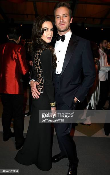 Actors Elizabeth Chambers and Armie Hammer attend the 2015 Vanity Fair Oscar Party hosted by Graydon Carter at the Wallis Annenberg Center for the...
