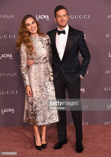 Actors Elizabeth Chambers and Armie Hammer attend the 2017 LACMA Art Film Gala Honoring Mark Bradford And George Lucas at LACMA on November 4 2017 in...