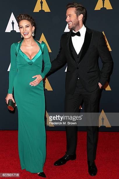 Actors Elizabeth Chambers and Armie Hammer attend the Academy of Motion Picture Arts and Sciences' 8th annual Governors Awards at The Ray Dolby...