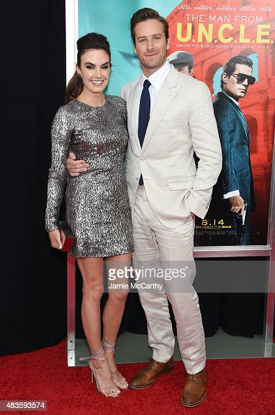 Actors Elizabeth Chambers and Armie Hammer attend the New York premiere of 'The Man From UNCLE' at Ziegfeld Theater on August 10 2015 in New York City