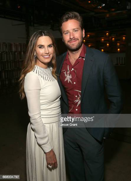 Actors Elizabeth Chambers and Armie Hammer attend the premiere of A24's 'Free Fire' after party on April 13 2017 in Los Angeles California