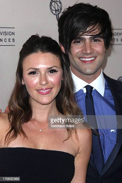 Actors Elizabeth Hendrickson and Max Ehrich attend the Daytime Emmy Nominees cocktail reception held at Montage Beverly Hills on June 13 2013 in...