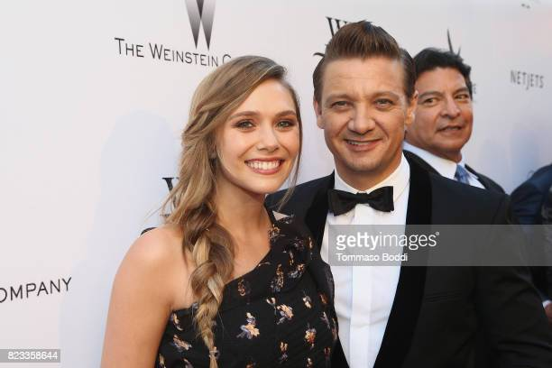 Actors Elizabeth Olsen and Jeremy Renner attend the 'Wind River' Los Angeles Premiere presented in partnership with FIJI Water at Ace Hotel Los...