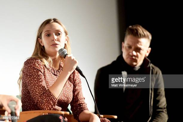 Actors Elizabeth Olsen and Jeremy Renner attend the 'Wind River' QA at Aero Theatre on October 8 2017 in Santa Monica California