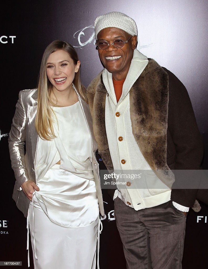 Actors <a gi-track='captionPersonalityLinkClicked' href=/galleries/search?phrase=Elizabeth+Olsen&family=editorial&specificpeople=5775031 ng-click='$event.stopPropagation()'>Elizabeth Olsen</a> and <a gi-track='captionPersonalityLinkClicked' href=/galleries/search?phrase=Samuel+L.+Jackson&family=editorial&specificpeople=167234 ng-click='$event.stopPropagation()'>Samuel L. Jackson</a> attend the FilmDistrict & Complex Media with The Cinema Society & Grey Goose screening of 'Oldboy' at AMC Lincoln Square Theater on November 11, 2013 in New York City.