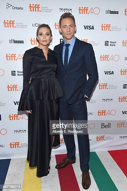 Actors Elizabeth Olsen and Tom Hiddleston attends the 'I Saw the Light' premiere during the 2015 Toronto International Film Festival at Ryerson...