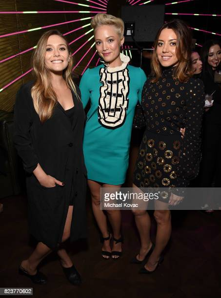 Actors Elizabeth Olsen Pom Klementieff and Aubrey Plaza attend the after party for the Los Angeles Premiere of INGRID GOES WEST presented by SVEDKA...