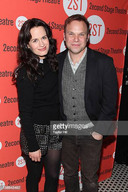 Actors Elizabeth Reaser and Norbert Leo Butz attend the offBroadway opening night after party for 'How I Learned To Drive' at HB Burger on February...