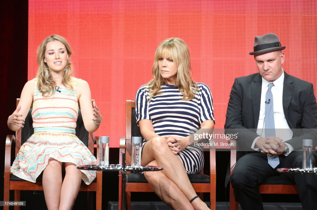 Actors Ella Rae Peck, Mary McCormack, and Mike O'Malley speak onstage during the 'Welcome to the Family' panel discussion at the NBC portion of the 2013 Summer Television Critics Association tour - Day 4 at the Beverly Hilton Hotel on July 27, 2013 in Beverly Hills, California.