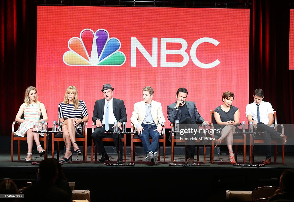 Actors Ella Rae Peck, Mary McCormack, Mike O'Malley, Executive Producer Mike Sikowitz (C), Ricardo Chavira, Justina Machado, and Joseph Haro speak onstage during the 'Welcome to the Family' panel discussion at the NBC portion of the 2013 Summer Television Critics Association tour - Day 4 at the Beverly Hilton Hotel on July 27, 2013 in Beverly Hills, California.