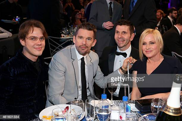 Actors Ellar Coltrane Ethan Hawke and Patricia Arquette attend the 20th annual Critics' Choice Movie Awards at the Hollywood Palladium on January 15...