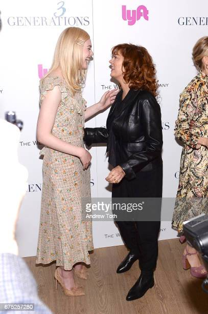 Actors Elle Fanning and Susan Sarandon attend a screening of '3 Generations' hosted by The Weinstein Company at the Whitby Hotel on April 30 2017 in...