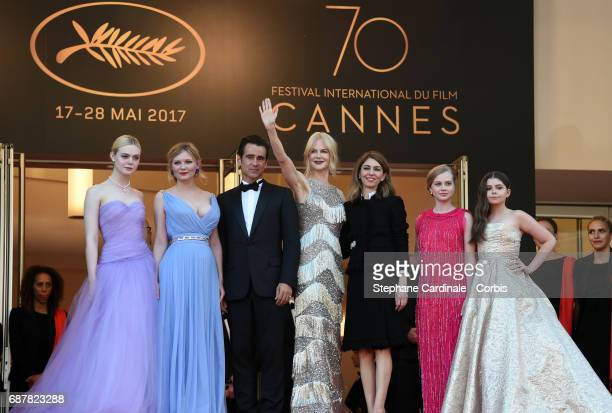 Actors Elle Fanning Kirsten Dunst Colin Farrell and Nicole Kidman director Sofia Coppola and actors Angousie Rice and Addison Riecke attend 'The...