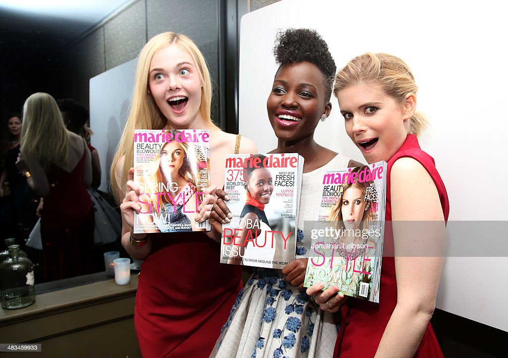 Actors <a gi-track='captionPersonalityLinkClicked' href=/galleries/search?phrase=Elle+Fanning&family=editorial&specificpeople=2189940 ng-click='$event.stopPropagation()'>Elle Fanning</a>, <a gi-track='captionPersonalityLinkClicked' href=/galleries/search?phrase=Lupita+Nyong%27o&family=editorial&specificpeople=10961876 ng-click='$event.stopPropagation()'>Lupita Nyong'o</a> and <a gi-track='captionPersonalityLinkClicked' href=/galleries/search?phrase=Kate+Mara&family=editorial&specificpeople=544680 ng-click='$event.stopPropagation()'>Kate Mara</a> attend Marie Claire Celebrates May Cover Stars on April 8, 2014 in West Hollywood, California.