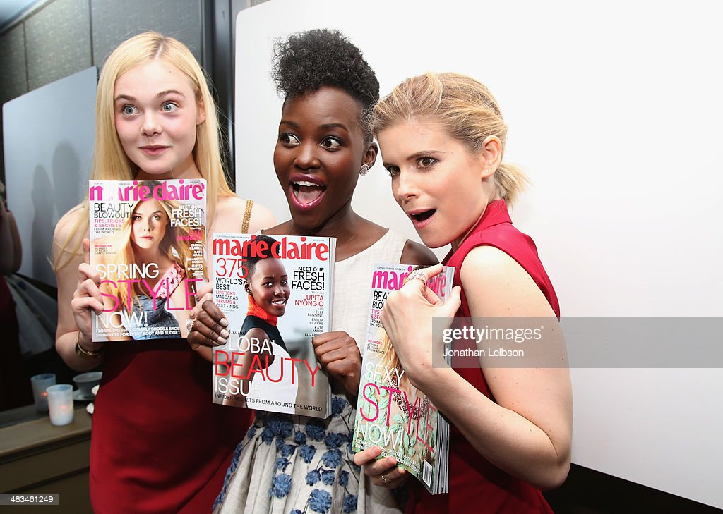 Actors Elle Fanning, Lupita Nyong'o and Kate Mara attend Marie Claire Celebrates May Cover Stars on April 8, 2014 in West Hollywood, California.