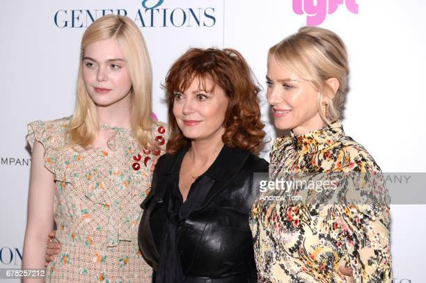 Actors Elle Fanning Susan Sarandon and Naomi Watts attend a screening of '3 Generations' hosted by The Weinstein Company at the Whitby Hotel on April...