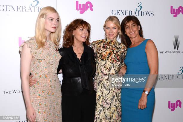 Actors Elle Fanning Susan Sarandon Naomi Watts and director Gaby Dellal attend a screening of '3 Generations' hosted by The Weinstein Company at the...