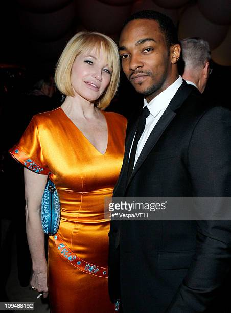 Actors Ellen Barkin and Anthony Mackie attend the 2011 Vanity Fair Oscar Party Hosted by Graydon Carter at the Sunset Tower Hotel on February 27 2011...