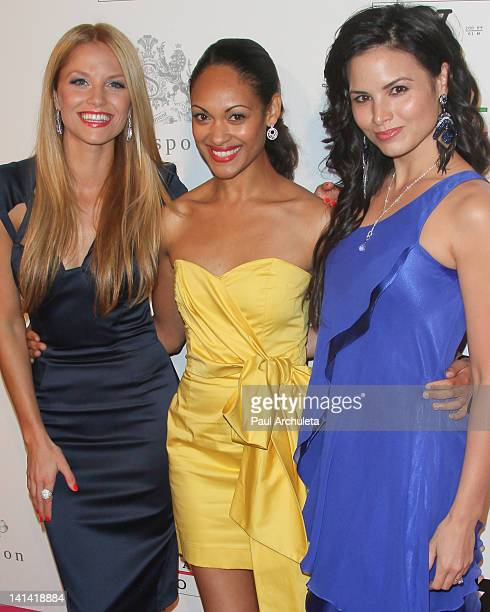 Actors Ellen Hollman Cynthia Addai Robinson and Katrina Law attend the 'Visual Impact Now' charity event at Silverspoon on March 15 2012 in West...