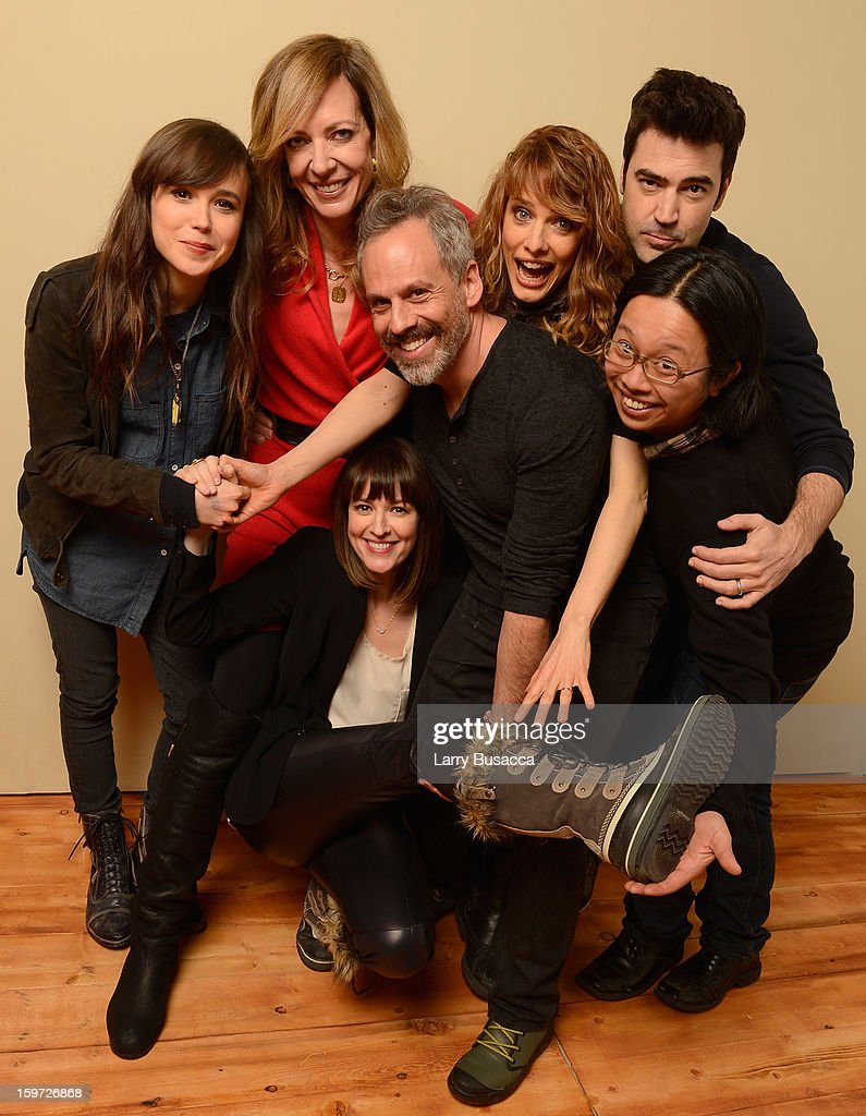 Actors Ellen Page, Allison Janney, Rosemarie DeWitt, Josh Pais, director/writer Lynn Shelton, actor Ron Livingston and actor Tomo Nakayama pose for a portrait during the 2013 Sundance Film Festival at the Getty Images Portrait Studio at Village at the Lift on January 19, 2013 in Park City, Utah.