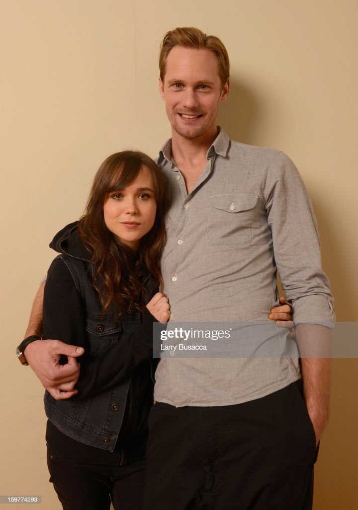 Actors Ellen Page and Alexander Skarsgard pose for a portrait during the 2013 Sundance Film Festival at the Getty Images Portrait Studio at Village at the Lift on January 20, 2013 in Park City, Utah.