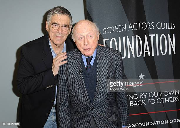 Actors Elliott Gould and Norman Lloyd attend the Career Reflection with Norman Lloyd at SAG Foundation Actors Center on January 6 2015 in Los Angeles...