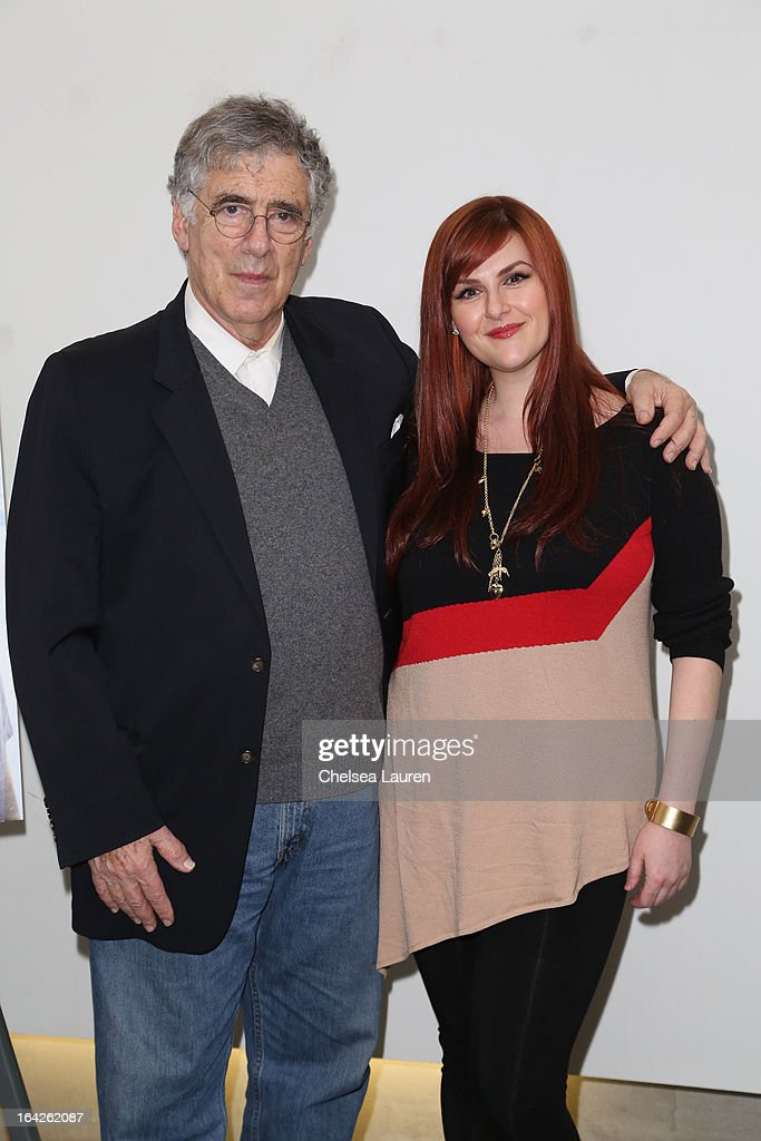 Actors Elliott Gould (L) and Sara Rue arrive at the 'Dorfman in Love' premiere at Downtown Independent Theatre on March 21, 2013 in Los Angeles, California.