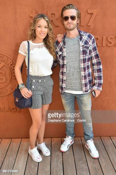 Actors Elodie Fontan and Philippe Lacheau attend the 2017 French Tennis Open Day Five at Roland Garros on June 1 2017 in Paris France