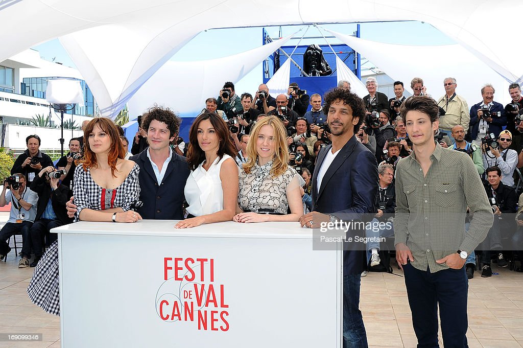 Actors Elodie Navarre Clement Sibony Aure Atika Lea Drucker Tomer Sisley and Pierre Niney attend the photocall for 'Jeunes Talents Adami' during The...
