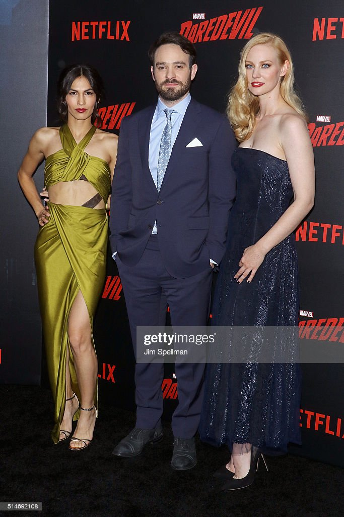 Actors Elodie Yung, Charlie Cox and Deborah Ann Woll attend the 'Daredevil' season 2 premiere at AMC Loews Lincoln Square 13 theater on March 10, 2016 in New York City.