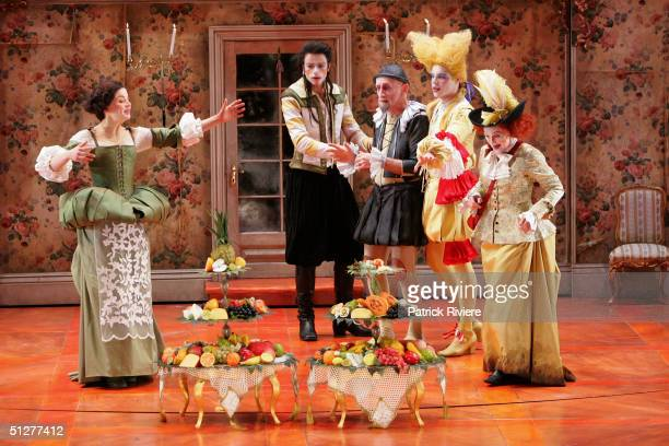 Actors Eloise Oxer Eden Falk John Gaden Brett Stiller and Julie Forsyth perform at a photocall for Moliere's 'The Miser' at the Drama Theatre...