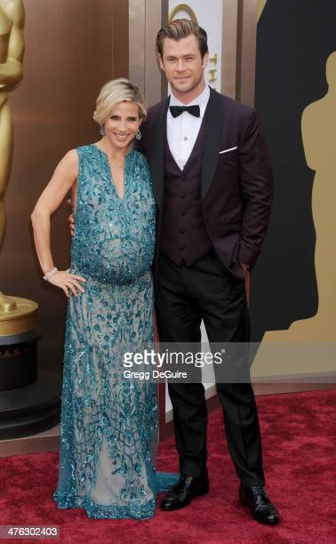 Actors Elsa Pataky and Chris Hemsworth arrive at the 86th Annual Academy Awards at Hollywood Highland Center on March 2 2014 in Hollywood California