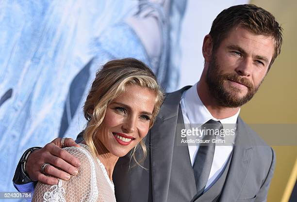 Actors Elsa Pataky and Chris Hemsworth arrive at the premiere of Universal Pictures' 'The Huntsman Winter's War' on April 11 2016 in Westwood...