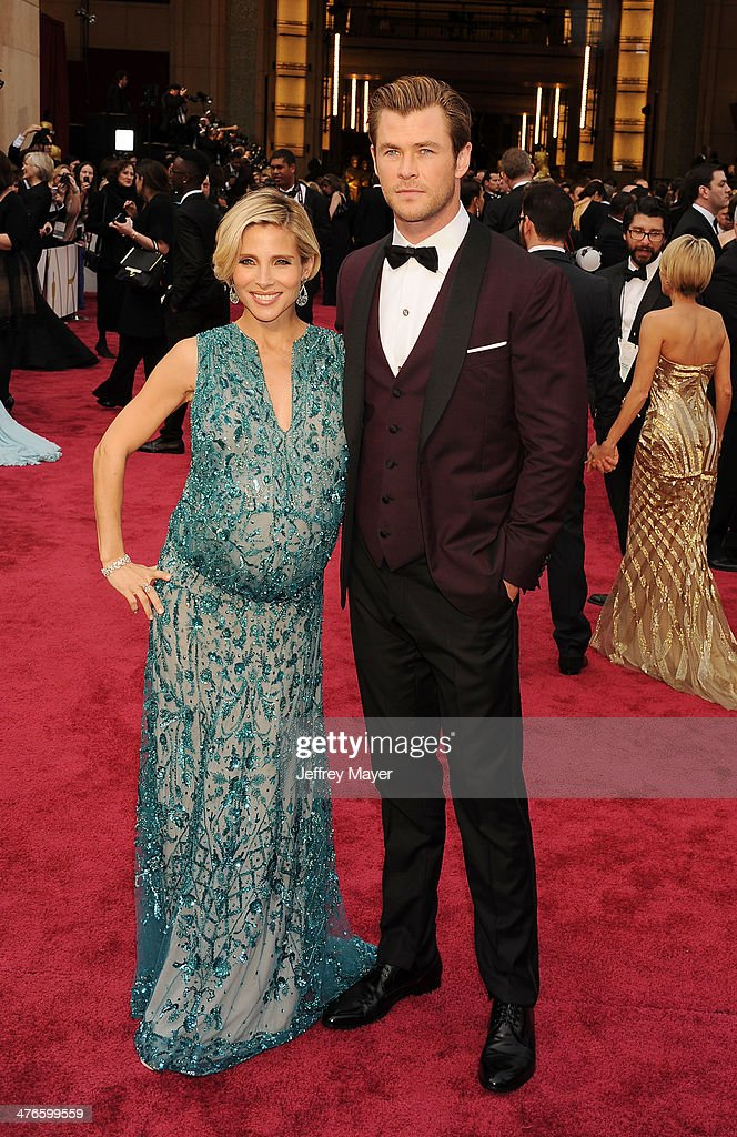 Actors <a gi-track='captionPersonalityLinkClicked' href=/galleries/search?phrase=Elsa+Pataky&family=editorial&specificpeople=242789 ng-click='$event.stopPropagation()'>Elsa Pataky</a> (L) and <a gi-track='captionPersonalityLinkClicked' href=/galleries/search?phrase=Chris+Hemsworth&family=editorial&specificpeople=646776 ng-click='$event.stopPropagation()'>Chris Hemsworth</a> attend the 86th Annual Academy Awards held at Hollywood & Highland Center on March 2, 2014 in Hollywood, California.