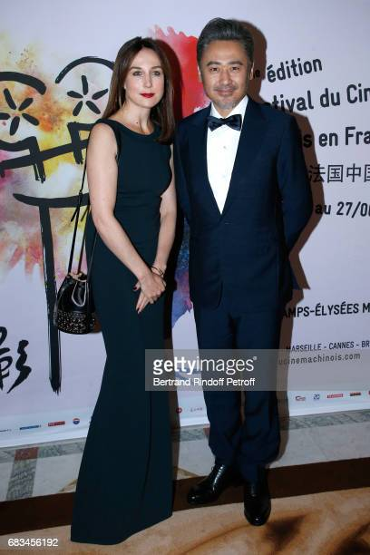 Actors Elsa Zylberstein and Wu Xiubo attend the 7th Chinese Film Festival Opening Cocktail at Hotel Meurice on May 15 2017 in Paris France